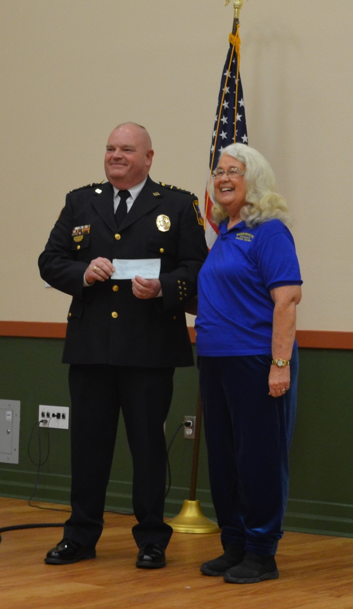 Chief Vice President Presented with Check