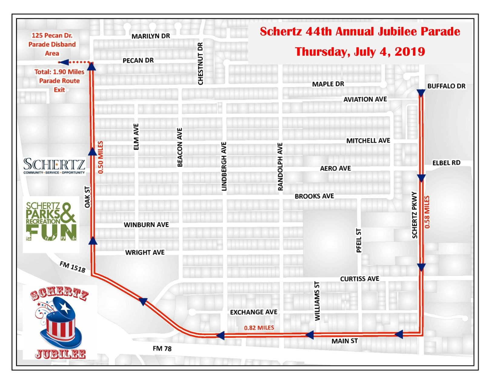 4th of July 5K-Parade Route 2019