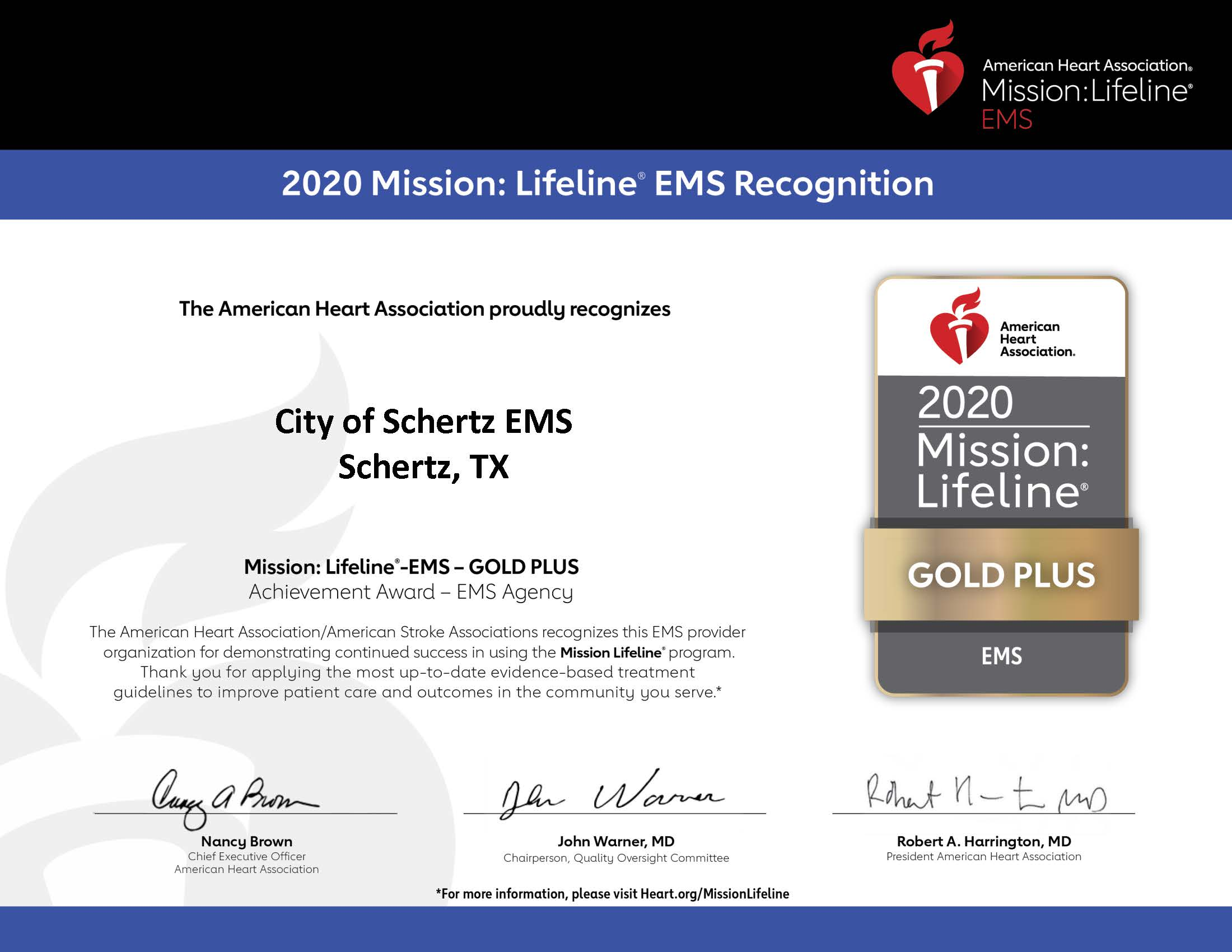 City of Schertz EMS_GOLD PLUS_2020
