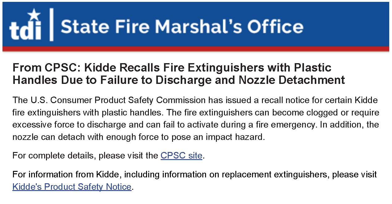 Kidde Recalls Fire Extinguishers